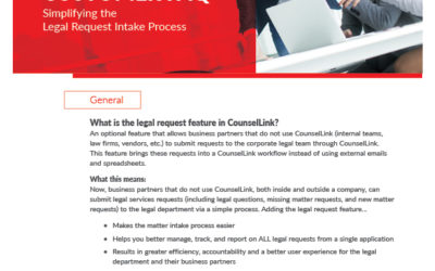 Legal Request In CounselLink Customer FAQ