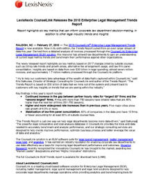 LexisNexis CounselLink Releases the 2018 Enterprise Legal Management Trends Report
